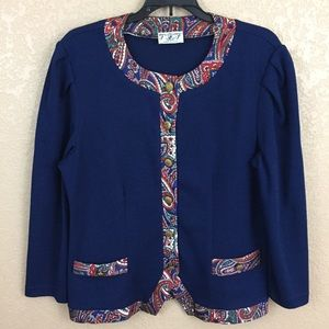 Vintage Large Paisley Navy Cardigan Sweater E53